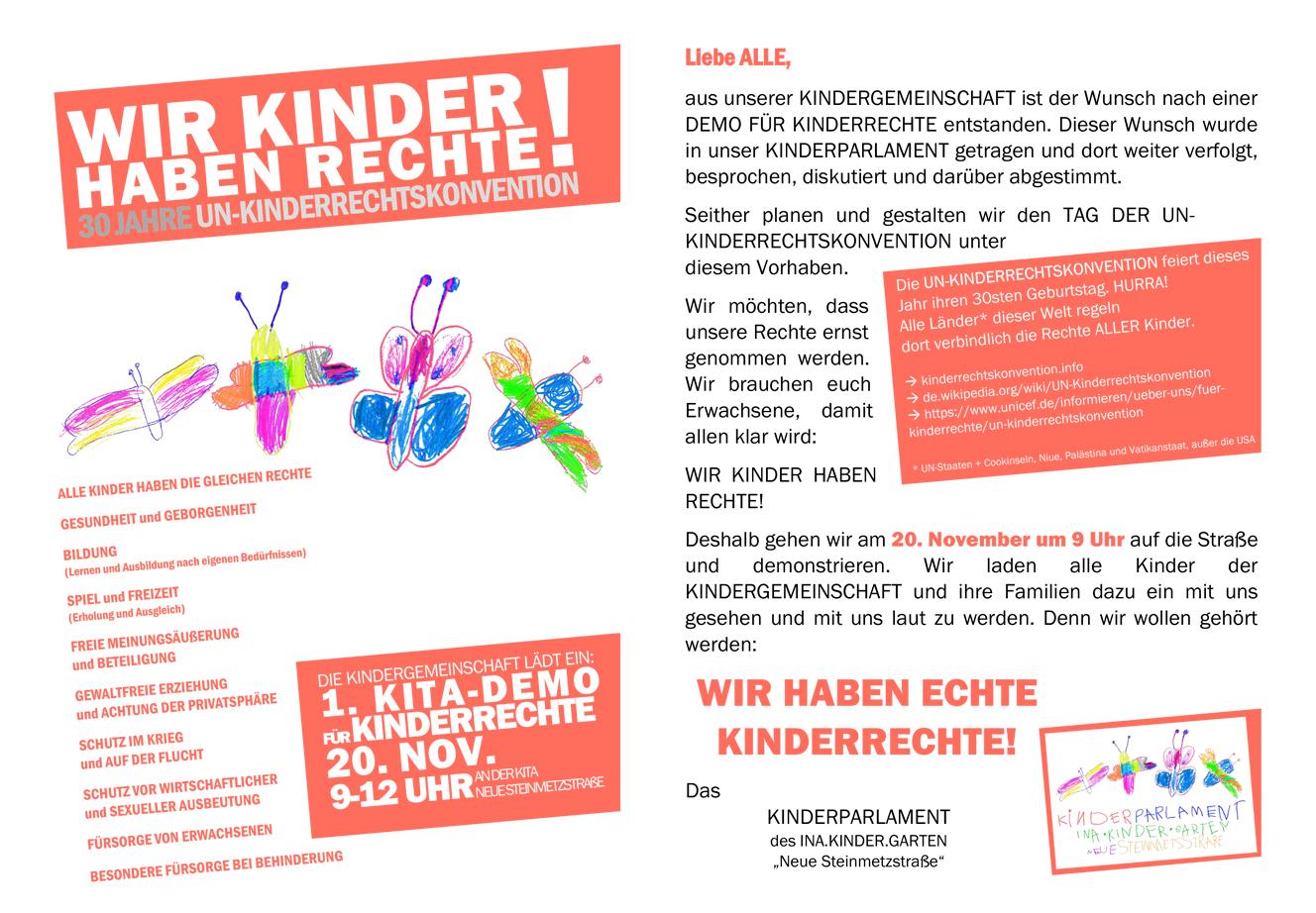 Kinderdemo am 20. November in der Neuen Steinmetzstraße