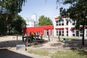 Inakindergarten, Raumfotos, Kita Finchleystrasse, Außenansicht Kitagebäude