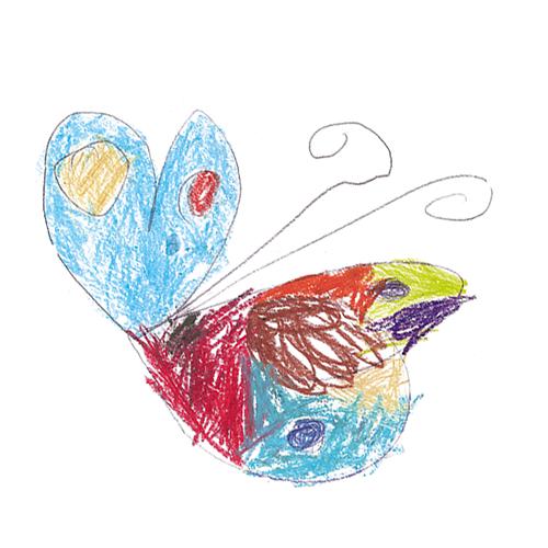 INA.KINDER.GARTEN Kinderzeichnung Schmetterling