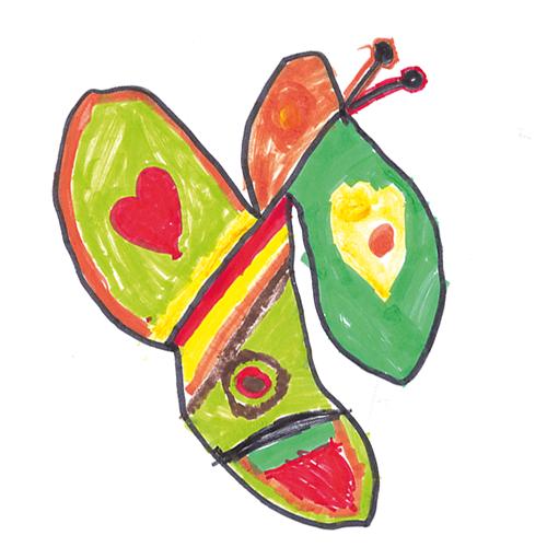 Inakindergarten, Kinderzeichnung Schmetterling, Neue Steinmetzstraße