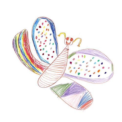 Inakindergarten, Kinderzeichnung Schmetterling, Kita Prenzlauer Berg